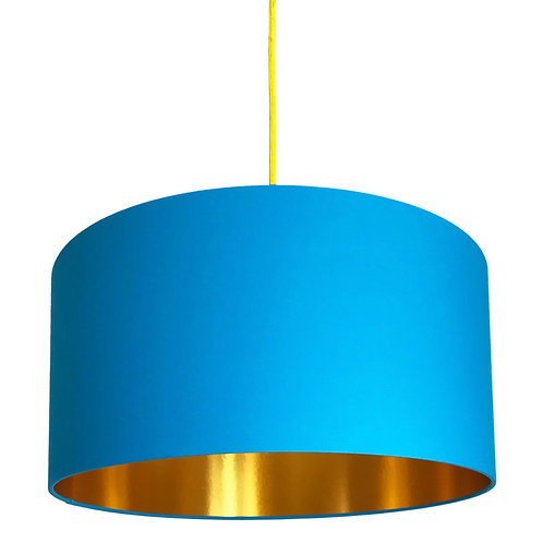 Topaz Blue Lampshade with Gold Lining