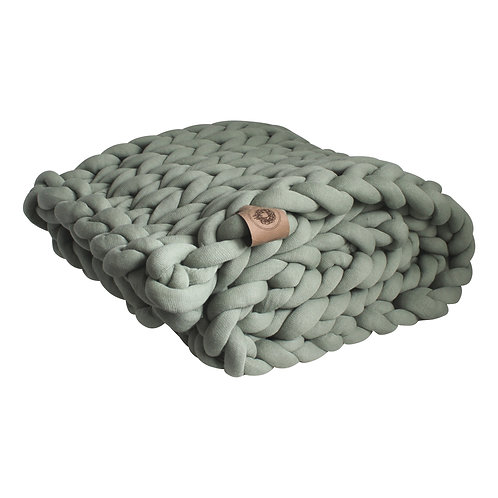 Tranquil Green Chunky Knit Throw