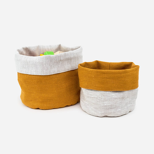Mustard Reversible Linen Storage Basket