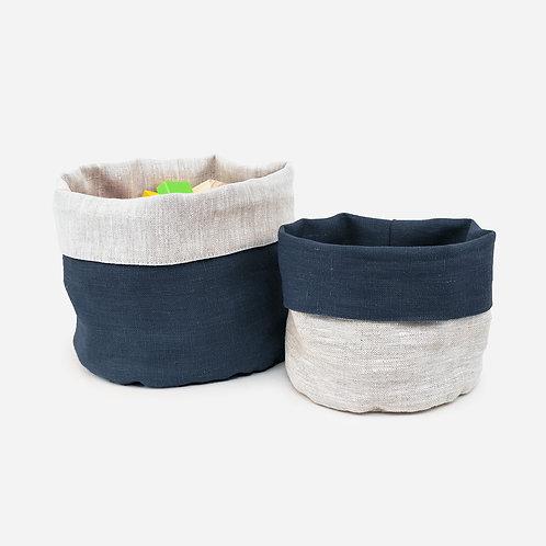 Blue Reversible Linen Storage Basket