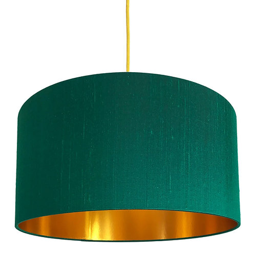 Indian Silk Lampshade in Emerald Green with Gold Lining