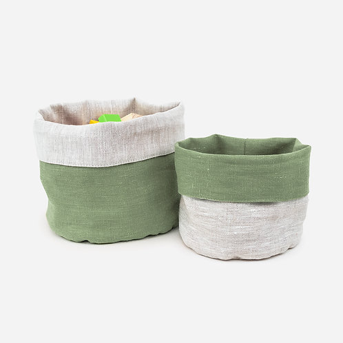 Green Reversible Linen Storage Basket
