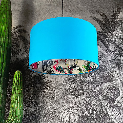 Grey Chimiracle Wallpaper Silhouette Lampshade in Topaz Blue