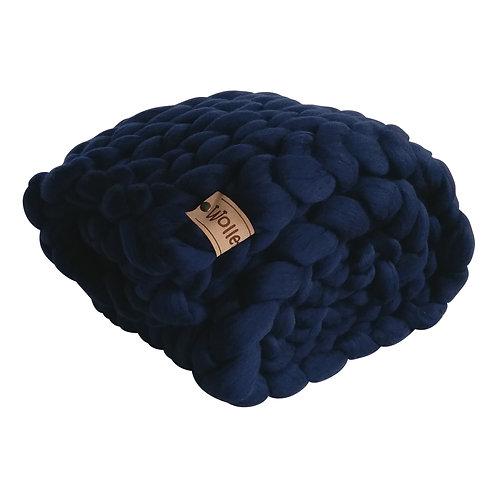Dark Denim Chunky Knit Throw