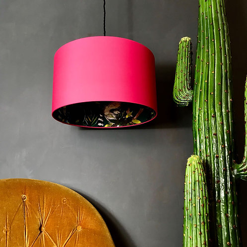 Teal Lemur Silhouette Lampshade in Watermelon Pink