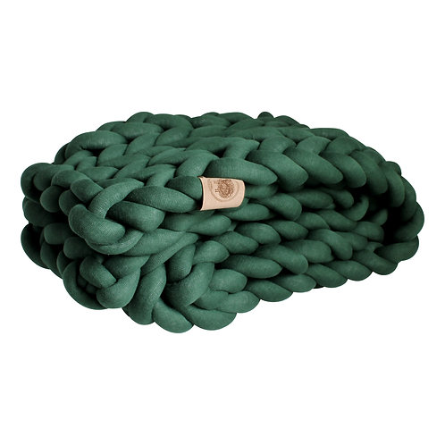 Dark Green Chunky Knit Throw
