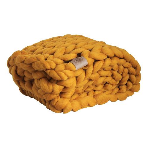 Sunny Ochre Chunky Knit Throw