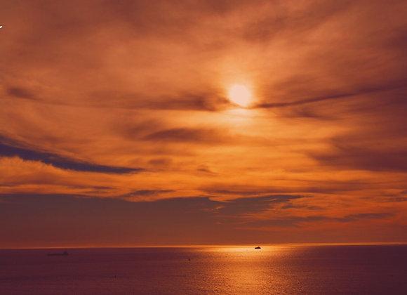 Blank Sunset Over Ocean Card