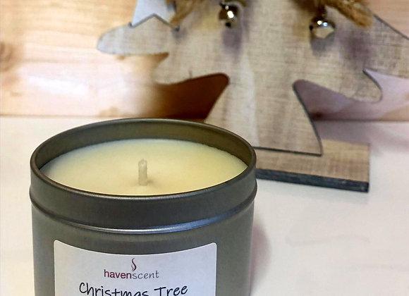 Small Silver Tin candle - Christmas Tree