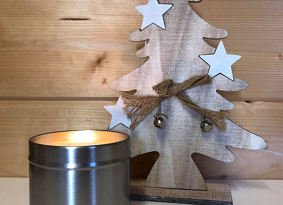 Silver Tin candle - Christmas Tree