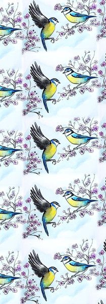 Blue Tits and Blossom Wallpaper