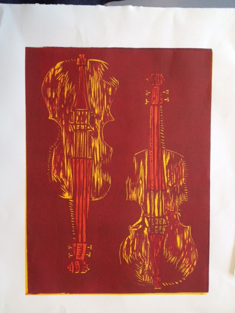 Violin Woodblock Print