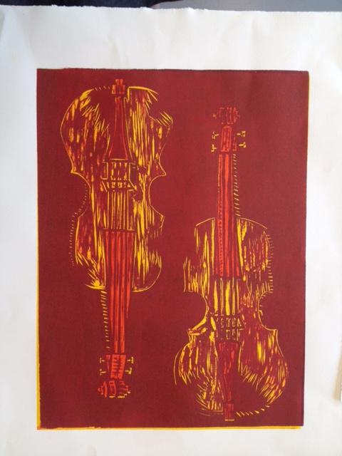 Violin Woodblock Print