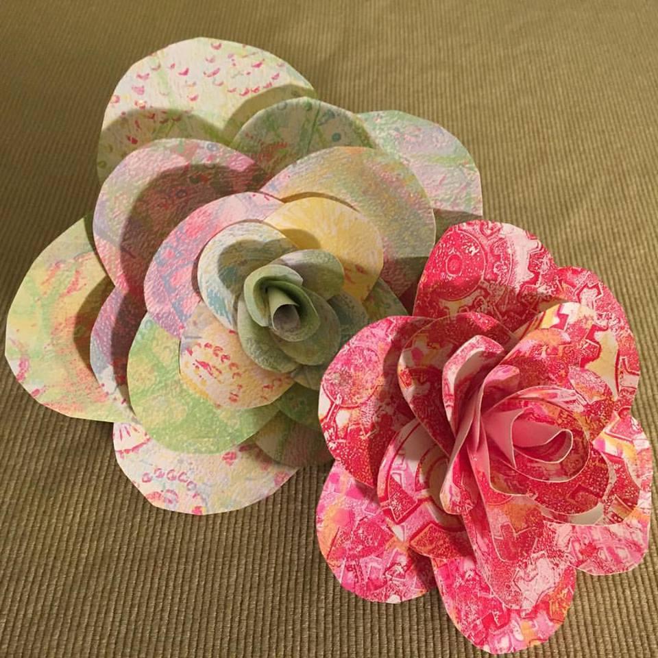 gelli print flowers