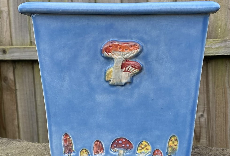 Small blue toadstool pot