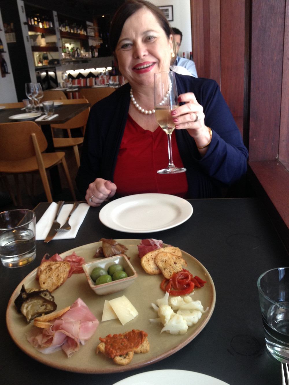 My beautiful Mum, Prosecco and the Antipasto Platter for 2 at Locanda Osteria