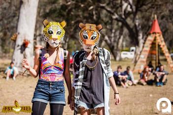 Jaguar and Tiger Masks at Psyfari Australia 2015