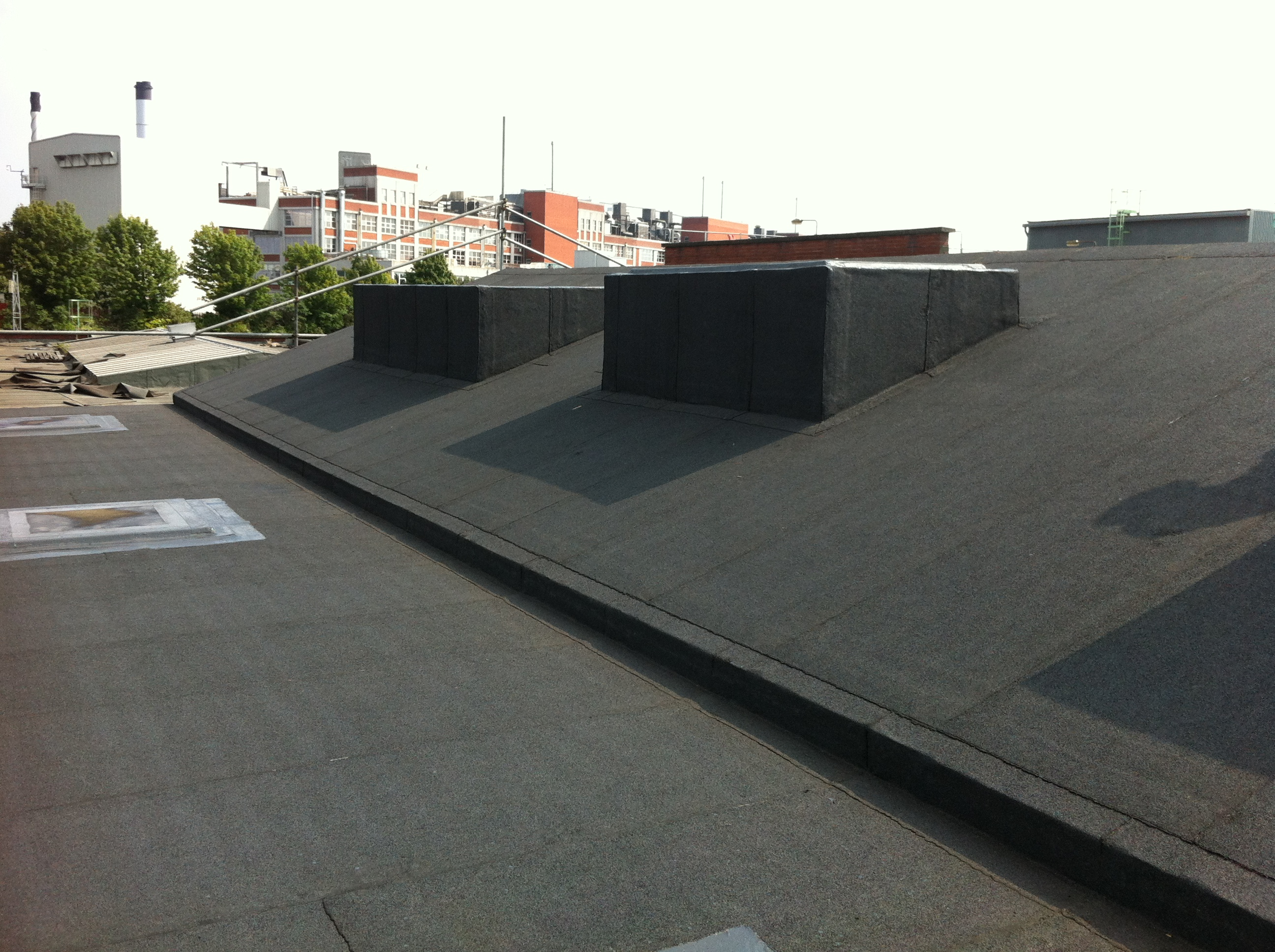 Felt upstands on sloped pitch roof