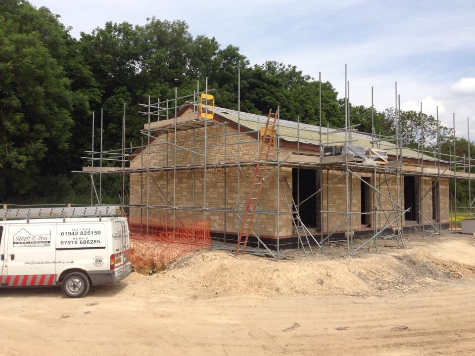View of the pitched roof during work