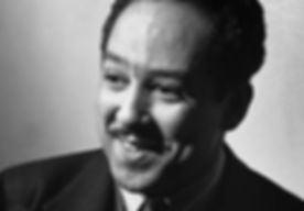 Langston Hughes portrait in black and white