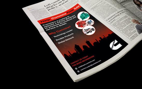 Help Power Sudan- Newspaper Ad banner
