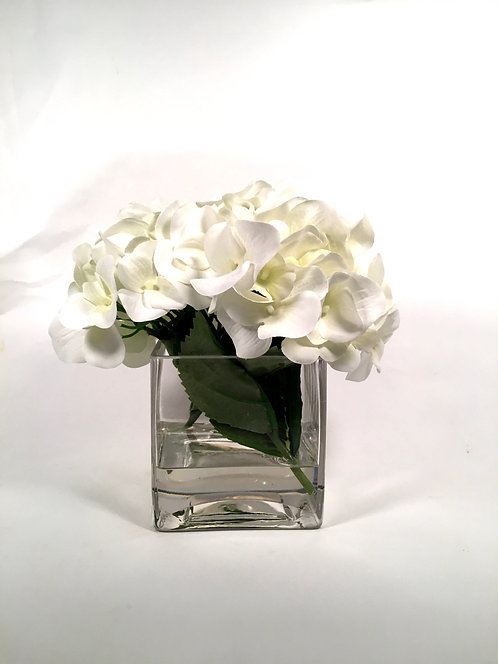 Hydrangea In Glass Cube, Small, White artificial