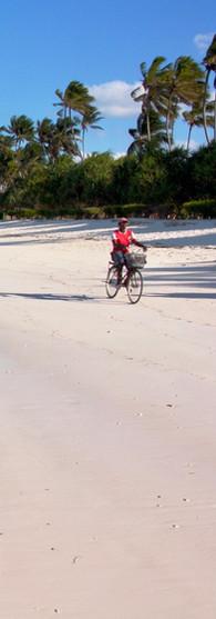 Zanzibar, Tanzania   cycling on the beach