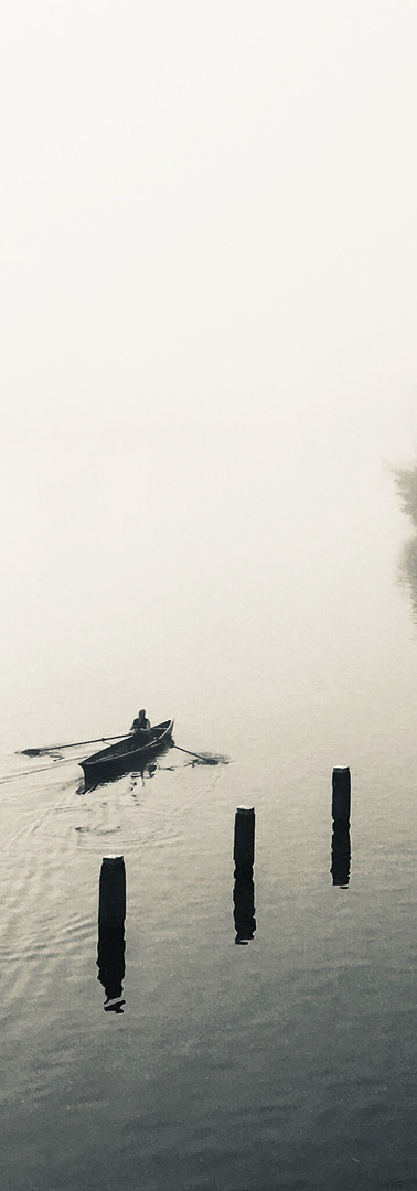 man alleen roeit op mistige morgen op amstel in roeiboot