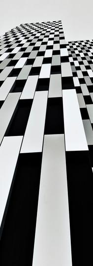stripes of postillion hotel building in amsterdam overamstel black and white