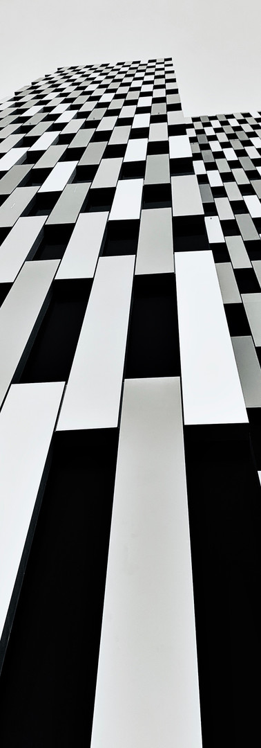 stripes of postillion hotel building in amsterdam overamstel black and white