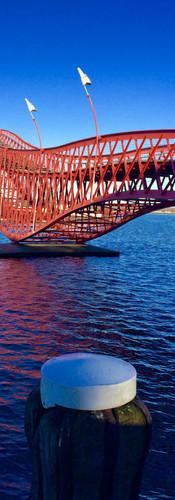 python bridge amsterdam architecture red bridge high bridge pedestrians only zeeburg