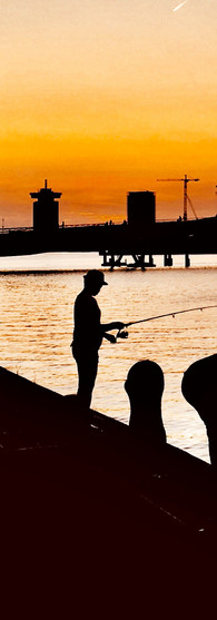 evening fishing amsterdam veemkade woman and man shadows iphoneonly