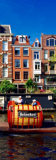 heineken beer boat on prinsengracht on summer's day