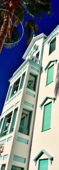 ibiza spain miami style es vive hotel white and mint color palm tree sunshine