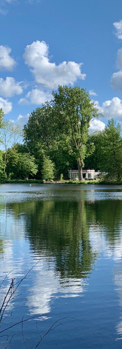 summer afternoon in amstelpar with white clouds reflected in the pond