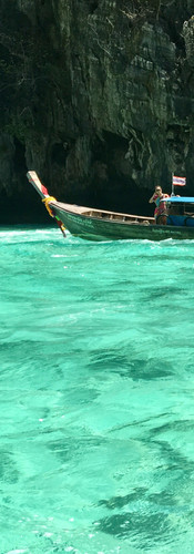 thailand koh phi phi translucent waters longtail boat rocks incredible watercolor dreaming