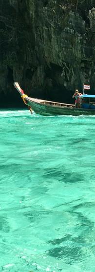 thailand koh phi phi translucent waters longtail boat rocks incredible watercolor dreaming