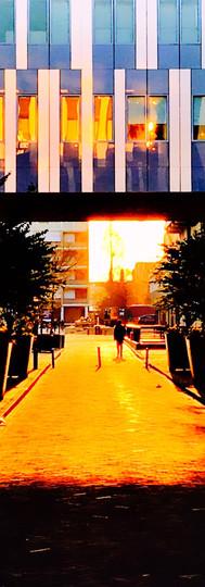 free university amsterdam vu passage glass panels orange sunset ioanmsterdam