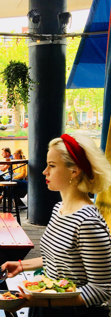 poetry in motion waterkant lovely waittress delivering outside terrace amsterdam iphoneonly