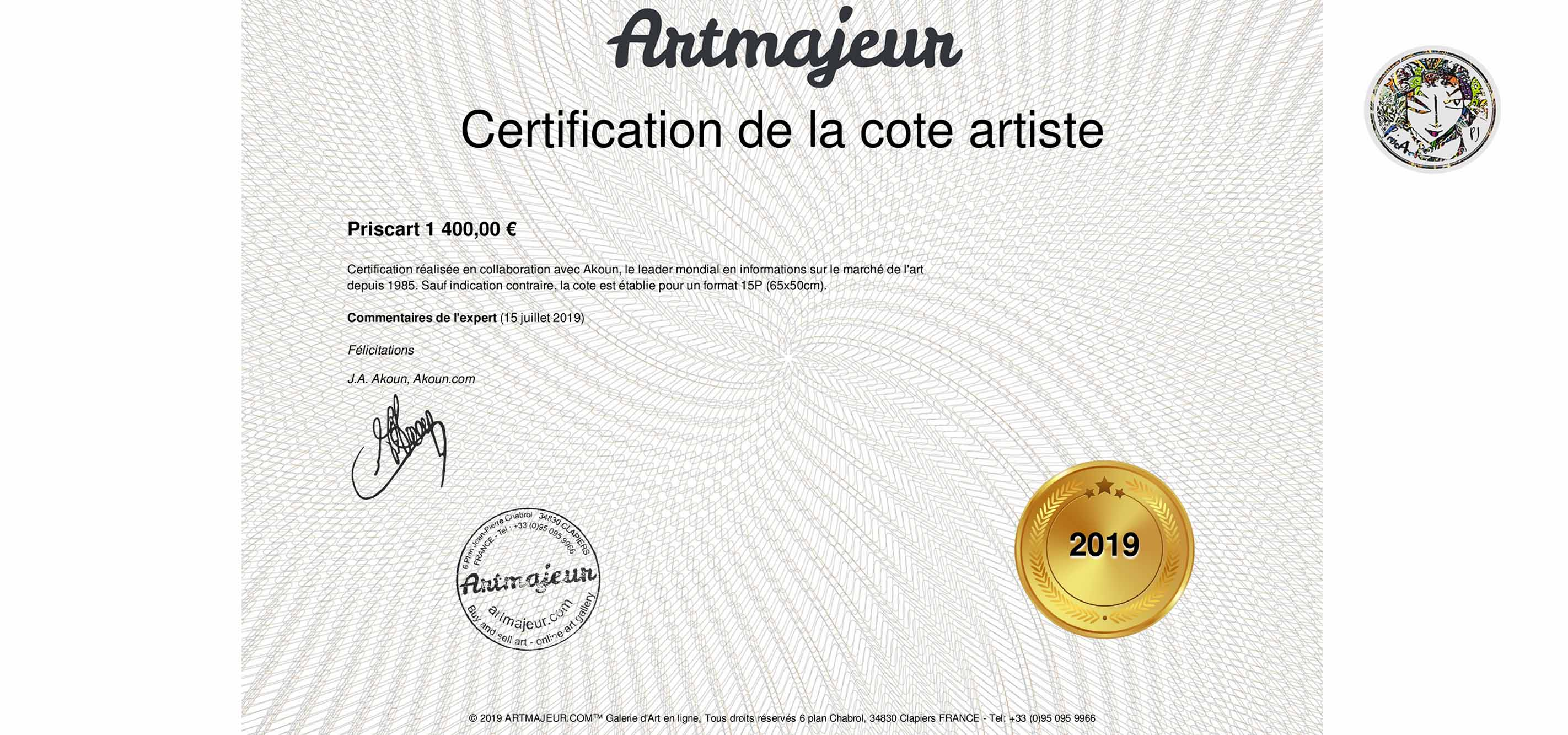 CERTIFICATION PRISCART 2019