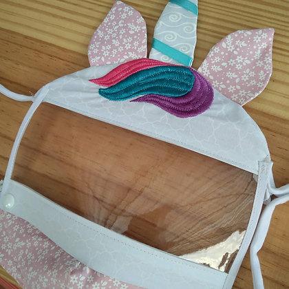Máscara de tecido com viseira - unicórnio
