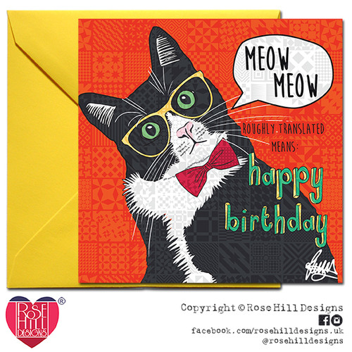 Rascal Black And White Cat Birthday Card