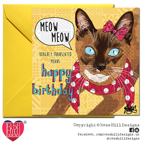 Miss Molly Brown Cat Happy Birthday Card
