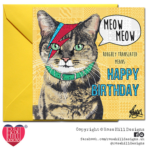 Bowie Tabby Cat Birthday Card
