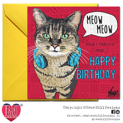Tiger Tabby Cat Happy Birthday Card
