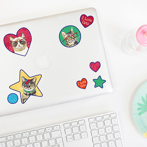 Rose Hill Designs I Love Cats on laptop.