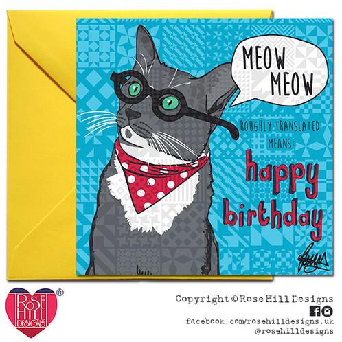 Professor Cuthbert Cat Happy Birthday Card