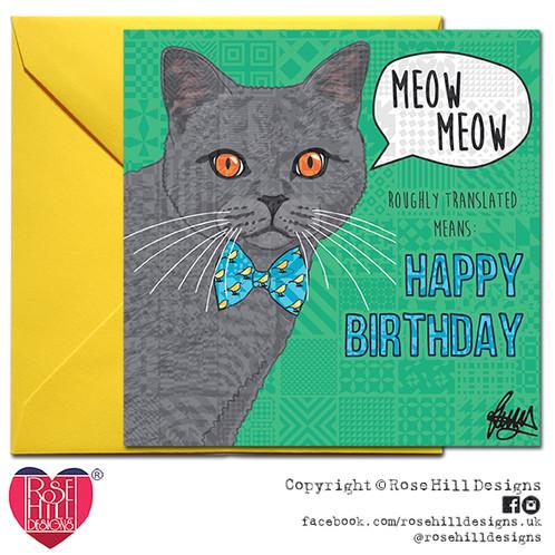 Monty British Blue Cat Birthday Card Rose Hill Designs Pet