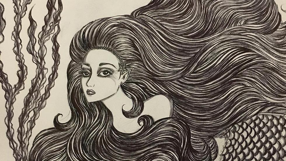 black and white Mermaid