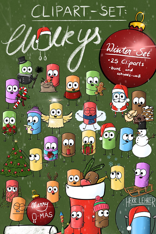 Clipart-Set: Die Chalkys (Winter-Set)